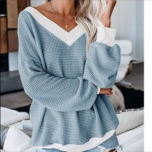 Sweaters - Cute Waffle Slouch Top